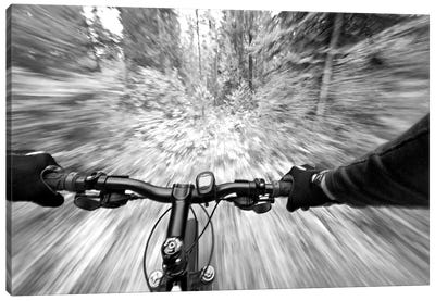 First Person Blurred Motion Mountain Biking View, West Glacier, Montana, USA Canvas Art Print