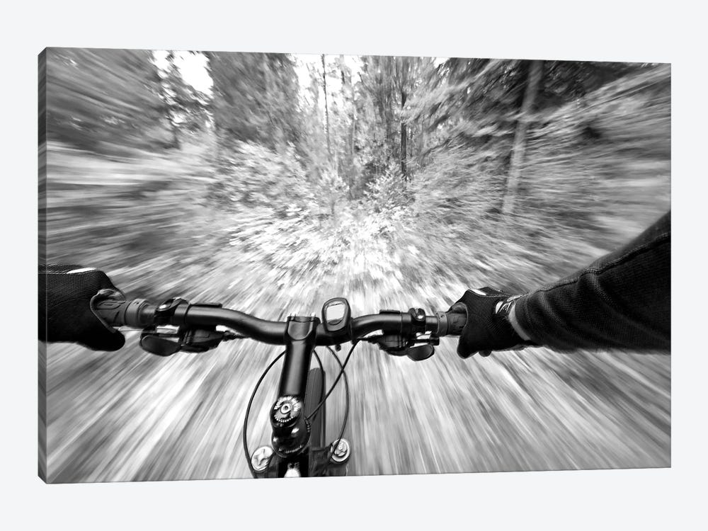 First Person Blurred Motion Mountain Biking View, West Glacier, Montana, USA by Chuck Haney 1-piece Canvas Print