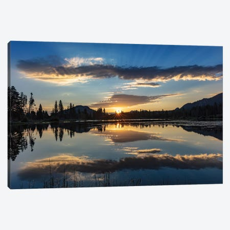 Sunrise clouds reflecting into Sprague Lake in Rocky Mountain National Park, Colorado, USA Canvas Print #UCK83} by Chuck Haney Canvas Artwork