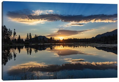 Sunrise clouds reflecting into Sprague Lake in Rocky Mountain National Park, Colorado, USA Canvas Art Print