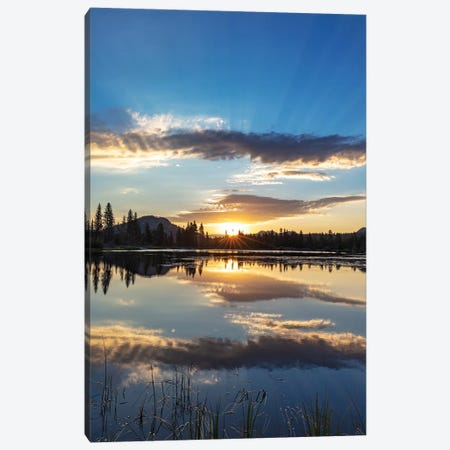 Sunrise clouds reflecting into Sprague Lake in Rocky Mountain National Park, Colorado, USA Canvas Print #UCK84} by Chuck Haney Canvas Print