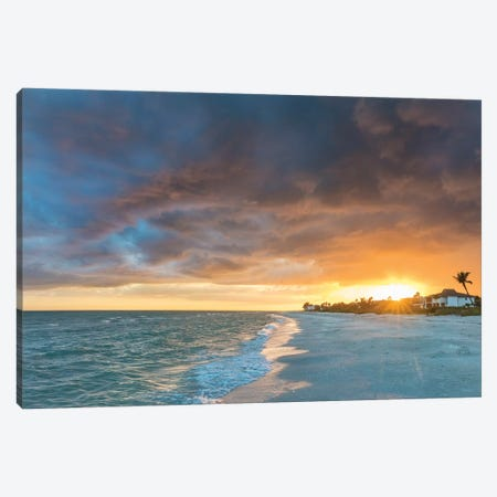 Sunset clouds over the Gulf of Mexico on Sanibel Island in Florida, USA Canvas Print #UCK85} by Chuck Haney Canvas Print