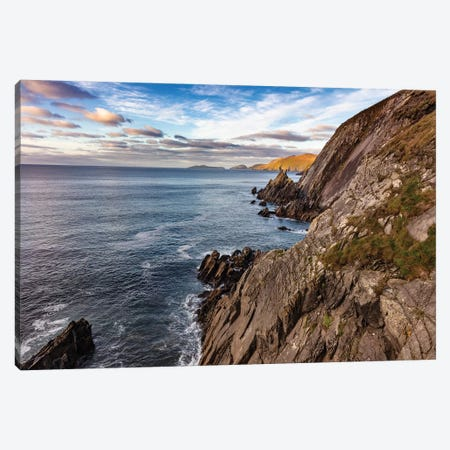 View of the Blasket Islands from Dunmore Head on the Dingle Peninsula, Ireland Canvas Print #UCK93} by Chuck Haney Canvas Art Print