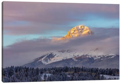 Clouds Envelope Crowsnest Mountain At Crowsnest Pass, Alberta, Canada Canvas Art Print