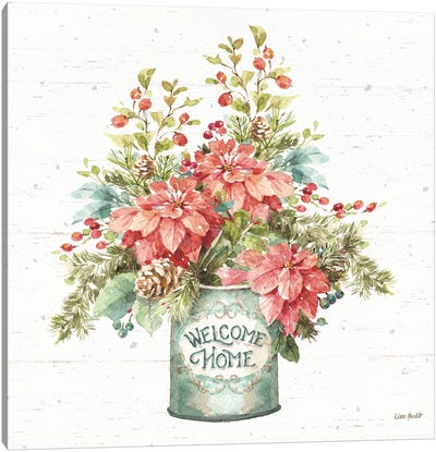 Our Christmas Story Bouquet on Birch Canvas Art Print