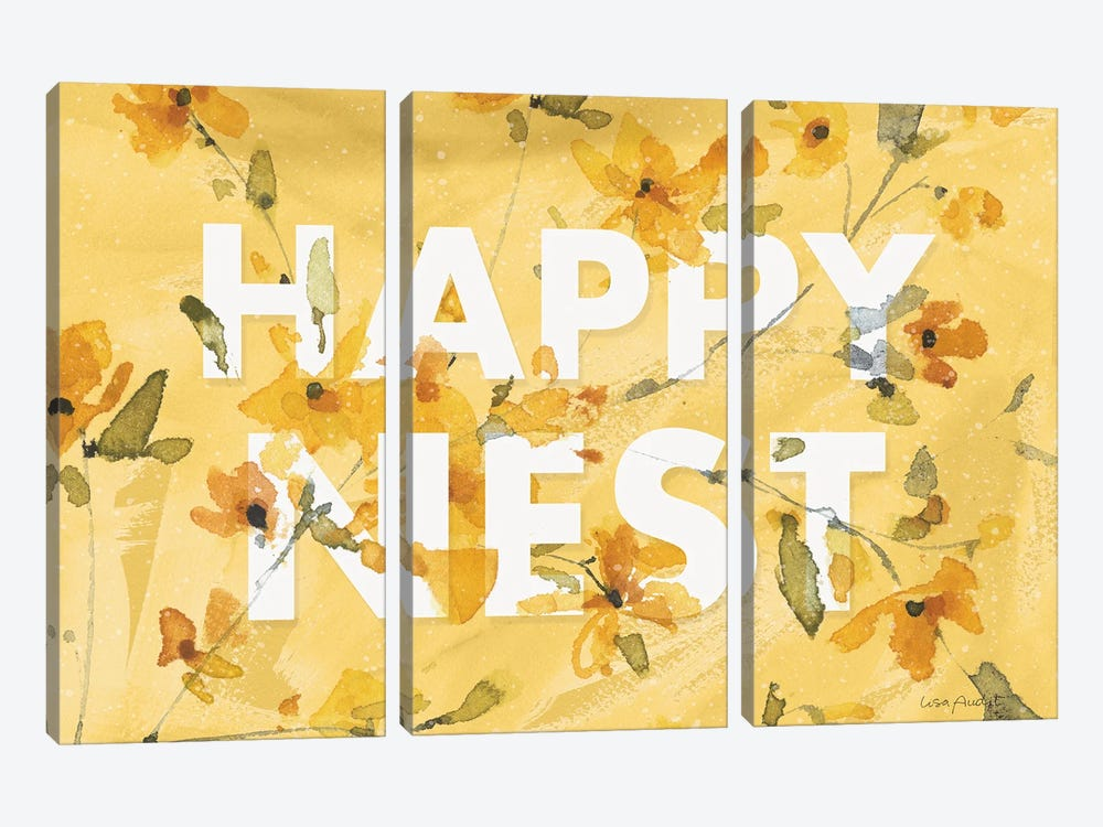 Happy Yellow XVC by Lisa Audit 3-piece Canvas Artwork