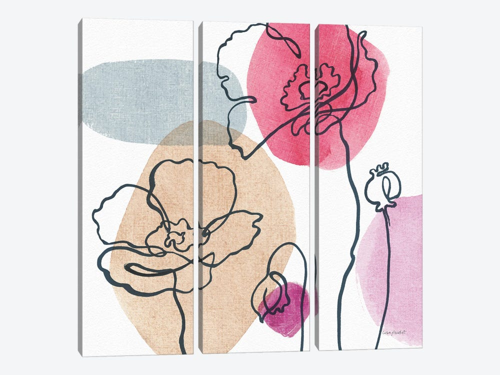 Think Pink IIIA by Lisa Audit 3-piece Canvas Wall Art