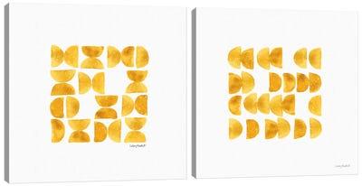 Happy Yellow Diptych Canvas Art Print