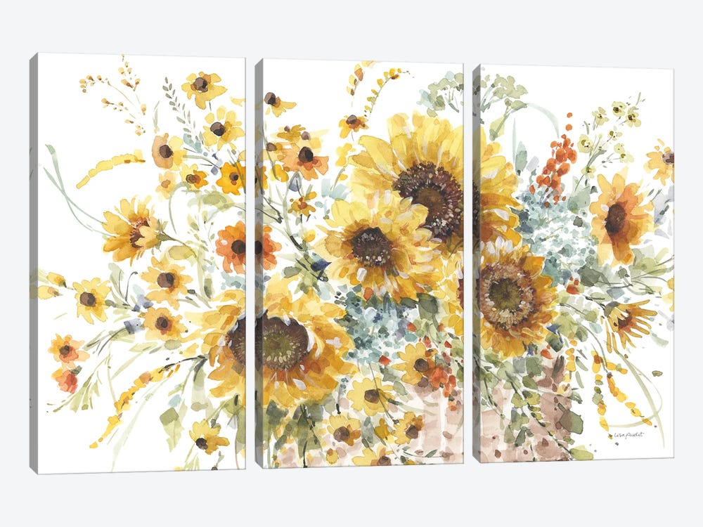 Sunflowers Forever I by Lisa Audit 3-piece Canvas Artwork