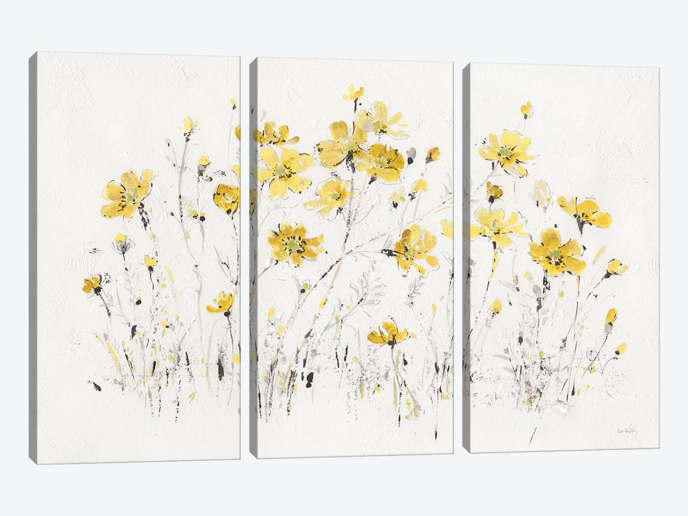 Wildflowers I Bright Yellow by Lisa Audit 3-piece Canvas Art