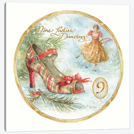 12 Days of Christmas IX Round Canvas Print #UDI79} by Lisa Audit Canvas Artwork