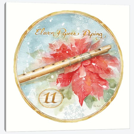 12 Days of Christmas XI Round Canvas Print #UDI85} by Lisa Audit Canvas Artwork