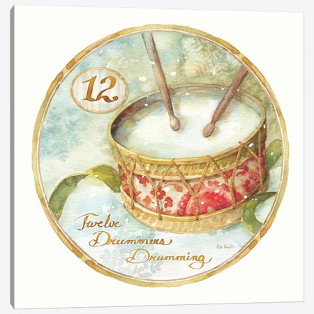 12 Days of Christmas XII Round Canvas Print #UDI86} by Lisa Audit Canvas Artwork