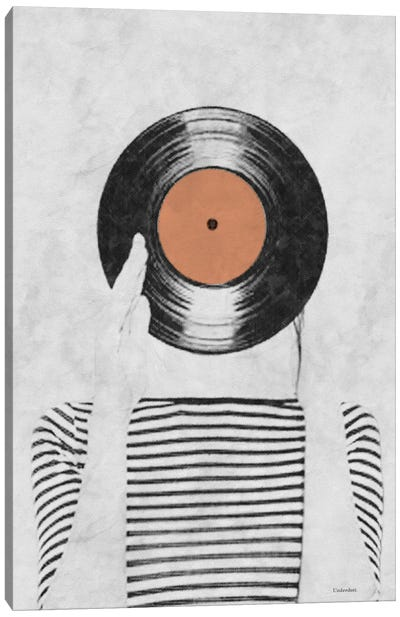 Vinyl Record Head Canvas Art Print