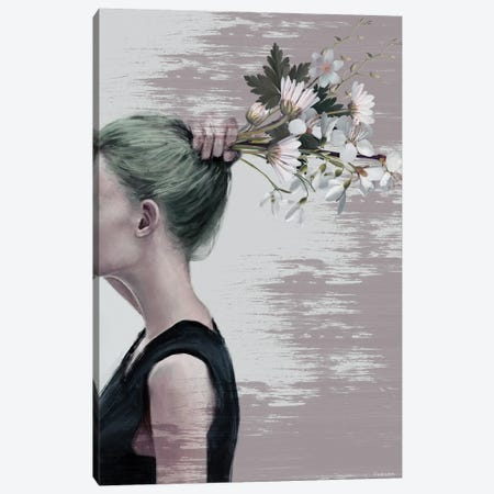 Flower Ponytail Canvas Print #UDT52} by Underdott Art Art Print