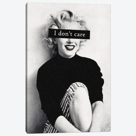 I Don't Care Canvas Print #UDT64} by Underdott Art Canvas Art Print