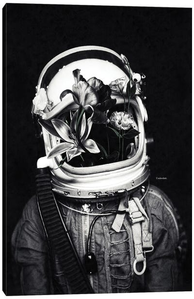 Astronauts And Flowers Canvas Art Print