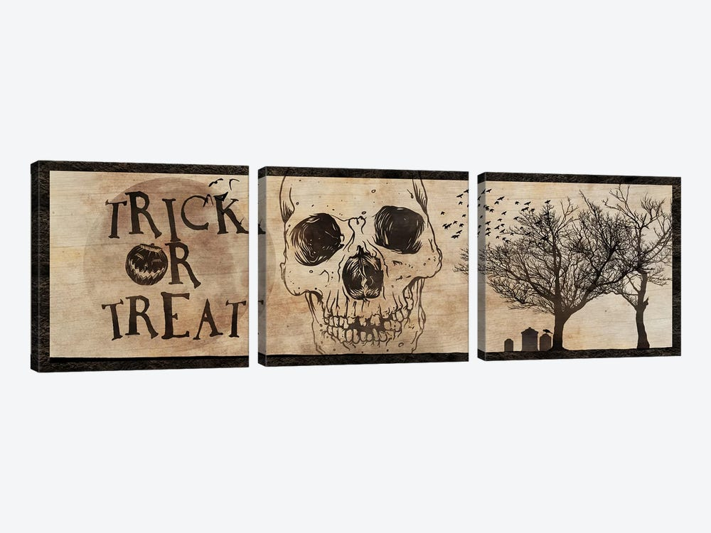 Trick or Treat With A Skull by 5by5collective 3-piece Art Print