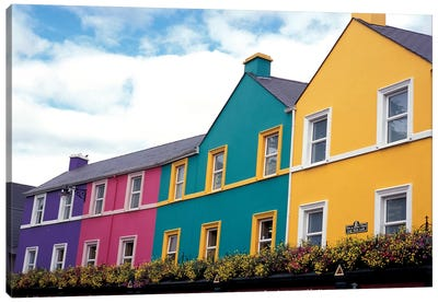 Colorful Architecture, Kenmare, County Kerry, Munster Province, Republic Of Ireland Canvas Art Print
