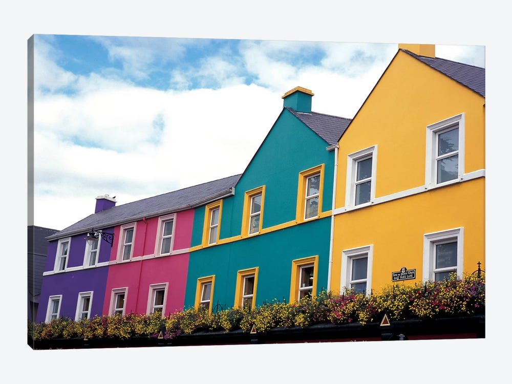 Colorful Architecture, Kenmare, County Kerry, Munster Province, Republic Of Ireland by David Barnes 1-piece Canvas Artwork