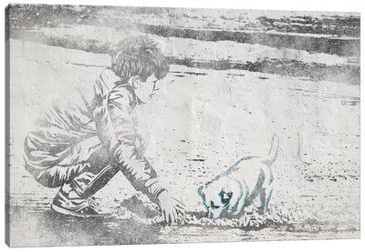 Digging Away Canvas Art Print