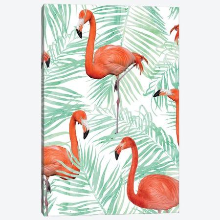 Flamingo And Mint Palm Canvas Print #UMA1325} by 83 Oranges Art Print