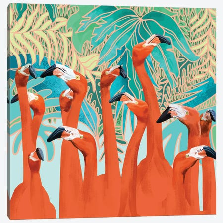 Flamingo Party Canvas Print #UMA1398} by 83 Oranges Canvas Print