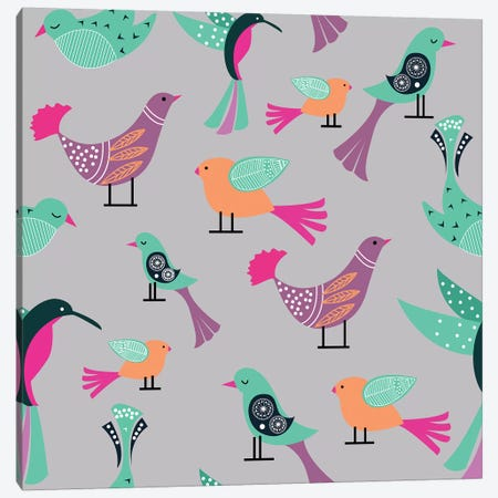 Birds Pattern Canvas Print #UMA14} by 83 Oranges Art Print