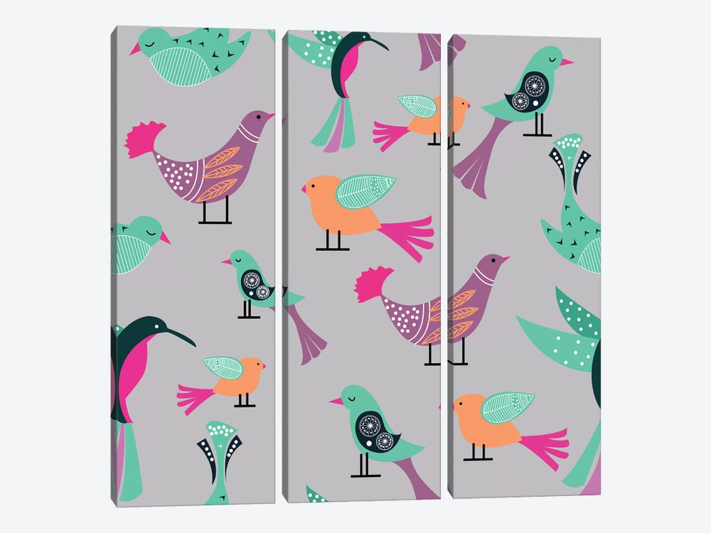 Birds Pattern by 83 Oranges 3-piece Canvas Art
