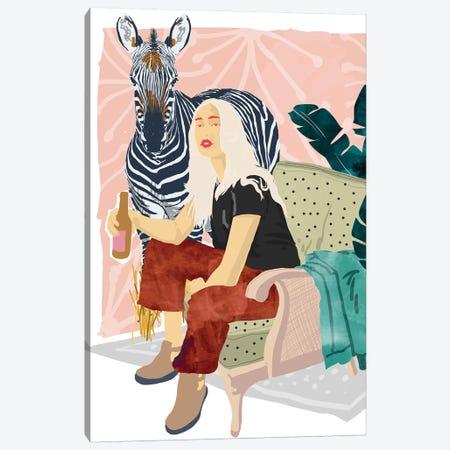Zebra Hangout Canvas Print #UMA158} by 83 Oranges Canvas Print