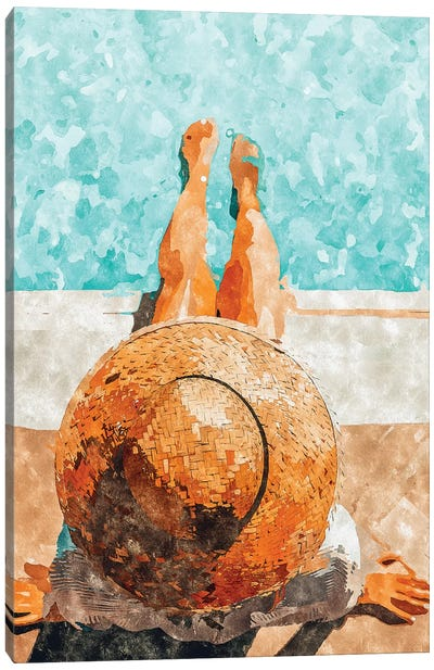 By The Pool All Day Canvas Art Print