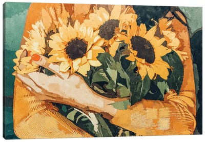 Holding Sunflowers Canvas Art Print