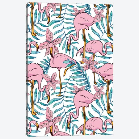 Boho Flamingo Canvas Print #UMA222} by 83 Oranges Canvas Print