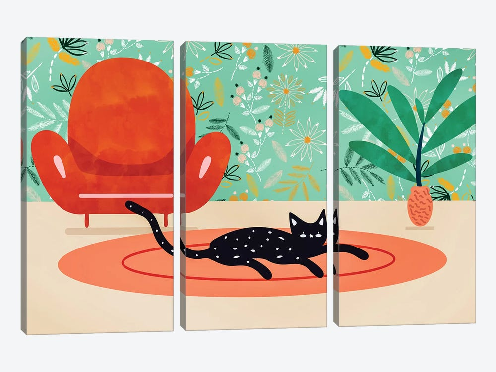Boho Cat by 83 Oranges 3-piece Canvas Print