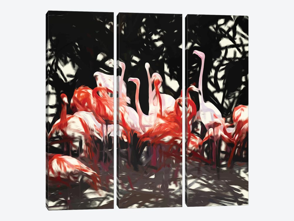 Flamingoes Under The Banyan Tree by 83 Oranges 3-piece Canvas Artwork