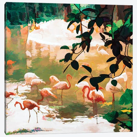 Flamingo Sighting Canvas Print #UMA293} by 83 Oranges Canvas Artwork