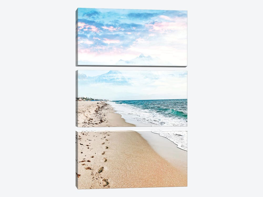 A Walk On The Beach by 83 Oranges 3-piece Canvas Art Print