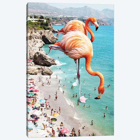 Giant Flamingos On The Beach Canvas Print #UMA32} by 83 Oranges Canvas Artwork