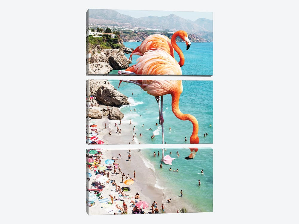 Giant Flamingos On The Beach by 83 Oranges 3-piece Canvas Artwork