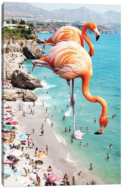 Giant Flamingos On The Beach Canvas Art Print