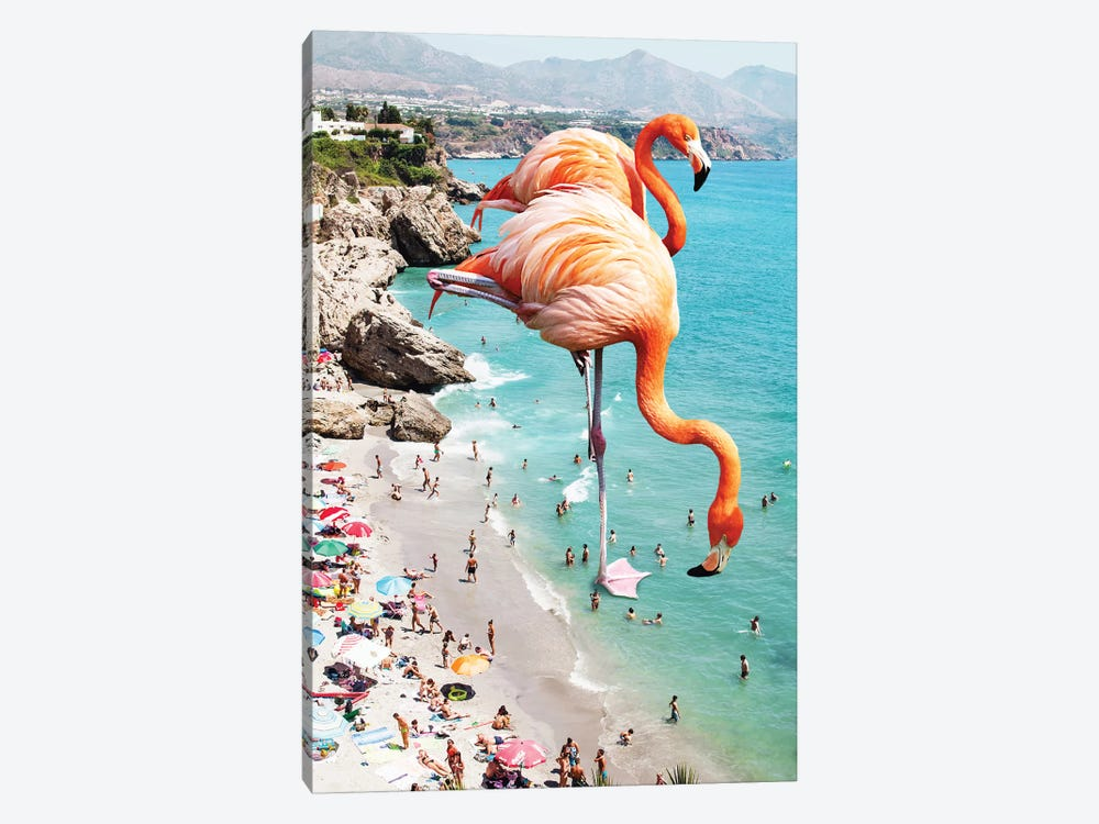Giant Flamingos On The Beach by 83 Oranges 1-piece Canvas Artwork