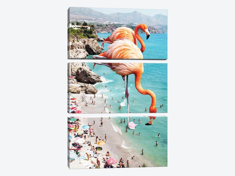 Giant Flamingos On The Beach by 83 Oranges 3-piece Canvas Artwork