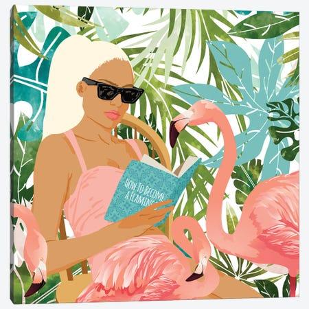How To Become A Flamingo Canvas Print #UMA522} by 83 Oranges Canvas Art