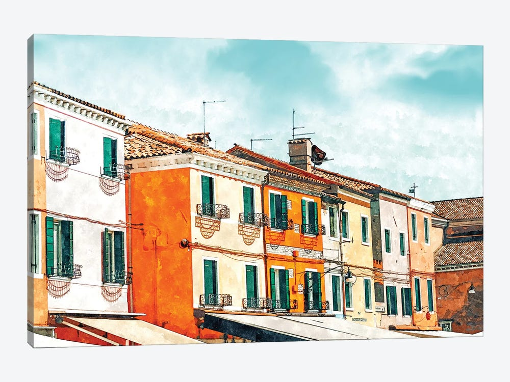 Burano Island 1-piece Canvas Print