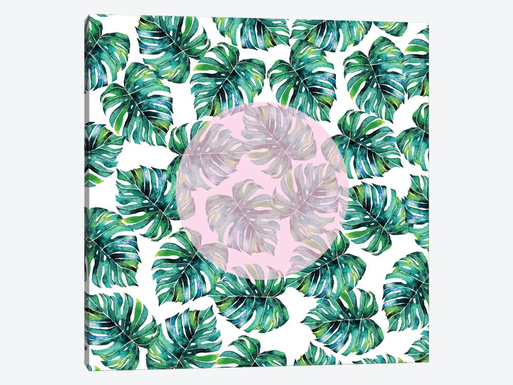 Monstera Pastel Pink Pattern by 83 Oranges 1-piece Canvas Print
