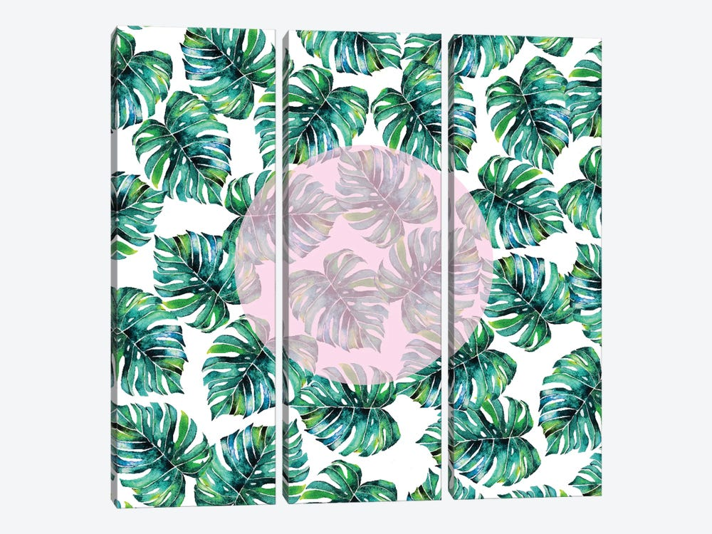 Monstera Pastel Pink Pattern by 83 Oranges 3-piece Canvas Print