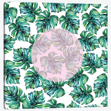 Monstera Pastel Pink Pattern Canvas Print #UMA55} by 83 Oranges Canvas Print