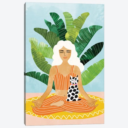 Meditation With Thy Cat Canvas Print #UMA642} by 83 Oranges Canvas Art Print