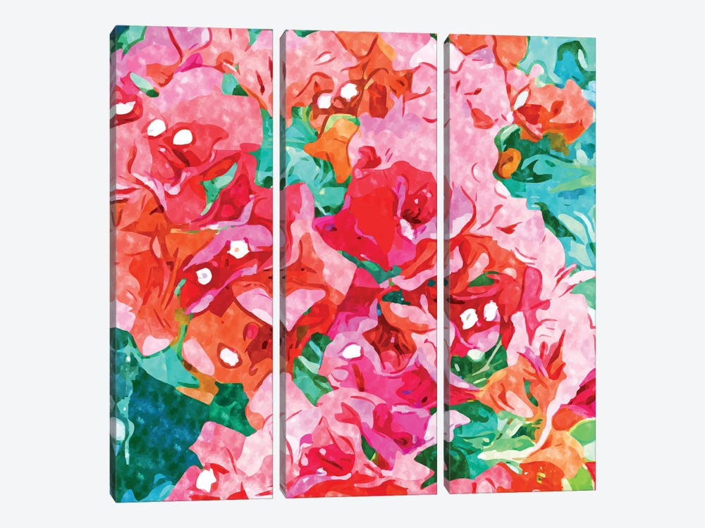 Be Like Bougainvillea, Blooming, Lush, Wild & Unassuming by 83 Oranges 3-piece Canvas Print