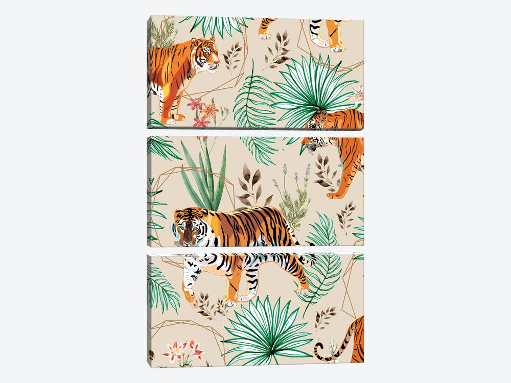 Tropical And Tigers by 83 Oranges 3-piece Canvas Wall Art